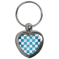 Square1 White Marble & Teal Brushed Metal Key Chains (heart)  by trendistuff