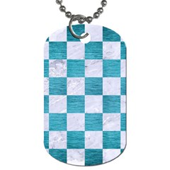 Square1 White Marble & Teal Brushed Metal Dog Tag (two Sides) by trendistuff