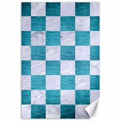 Square1 White Marble & Teal Brushed Metal Canvas 24  X 36  by trendistuff
