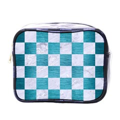 Square1 White Marble & Teal Brushed Metal Mini Toiletries Bags by trendistuff