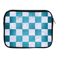 Square1 White Marble & Teal Brushed Metal Apple Ipad 2/3/4 Zipper Cases by trendistuff