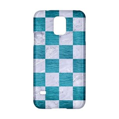 Square1 White Marble & Teal Brushed Metal Samsung Galaxy S5 Hardshell Case  by trendistuff