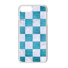 Square1 White Marble & Teal Brushed Metal Apple Iphone 7 Plus Seamless Case (white) by trendistuff