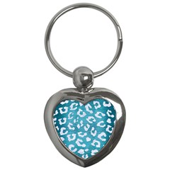 Skin5 White Marble & Teal Brushed Metal (r) Key Chains (heart)  by trendistuff