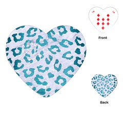 Skin5 White Marble & Teal Brushed Metal Playing Cards (heart)  by trendistuff