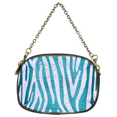 Skin4 White Marble & Teal Brushed Metal (r) Chain Purses (two Sides)  by trendistuff