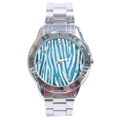 Skin4 White Marble & Teal Brushed Metal (r) Stainless Steel Analogue Watch by trendistuff