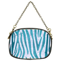 Skin4 White Marble & Teal Brushed Metal Chain Purses (one Side)  by trendistuff