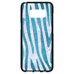 Skin4 White Marble & Teal Brushed Metal Samsung Galaxy S8 Black Seamless Case by trendistuff