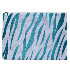 Skin3 White Marble & Teal Brushed Metal (r) Cosmetic Bag (xxl)  by trendistuff