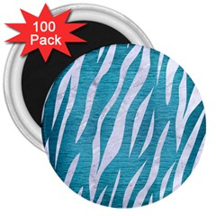 Skin3 White Marble & Teal Brushed Metal 3  Magnets (100 Pack) by trendistuff