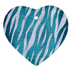 Skin3 White Marble & Teal Brushed Metal Heart Ornament (two Sides) by trendistuff
