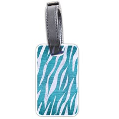 Skin3 White Marble & Teal Brushed Metal Luggage Tags (one Side)  by trendistuff