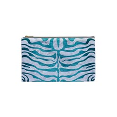 Skin2 White Marble & Teal Brushed Metal (r) Cosmetic Bag (small)  by trendistuff