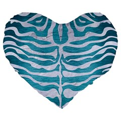 Skin2 White Marble & Teal Brushed Metal Large 19  Premium Heart Shape Cushions by trendistuff