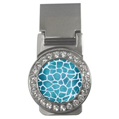 Skin1 White Marble & Teal Brushed Metal (r) Money Clips (cz)  by trendistuff