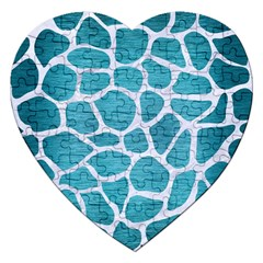 Skin1 White Marble & Teal Brushed Metal (r) Jigsaw Puzzle (heart) by trendistuff