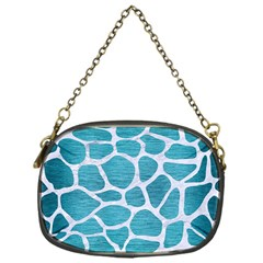 Skin1 White Marble & Teal Brushed Metal (r) Chain Purses (one Side)