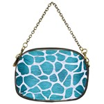 SKIN1 WHITE MARBLE & TEAL BRUSHED METAL (R) Chain Purses (One Side)  Front