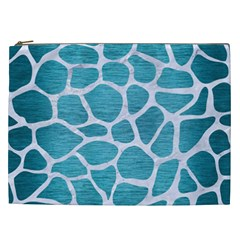 Skin1 White Marble & Teal Brushed Metal (r) Cosmetic Bag (xxl)  by trendistuff