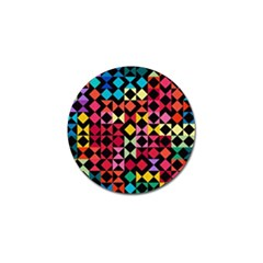 Colorful Rhombus And Triangles                                Golf Ball Marker (4 Pack) by LalyLauraFLM
