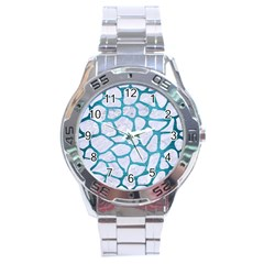 Skin1 White Marble & Teal Brushed Metal Stainless Steel Analogue Watch by trendistuff