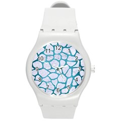 Skin1 White Marble & Teal Brushed Metal Round Plastic Sport Watch (m) by trendistuff