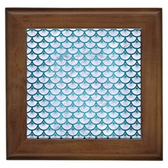Scales3 White Marble & Teal Brushed Metal (r) Framed Tiles by trendistuff