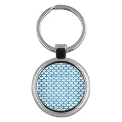 Scales3 White Marble & Teal Brushed Metal (r) Key Chains (round)  by trendistuff