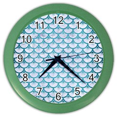 Scales3 White Marble & Teal Brushed Metal (r) Color Wall Clocks by trendistuff