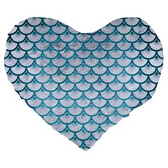 Scales3 White Marble & Teal Brushed Metal (r) Large 19  Premium Heart Shape Cushions by trendistuff