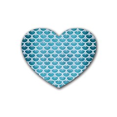Scales3 White Marble & Teal Brushed Metal Rubber Coaster (heart)