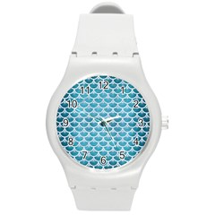 Scales3 White Marble & Teal Brushed Metal Round Plastic Sport Watch (m) by trendistuff