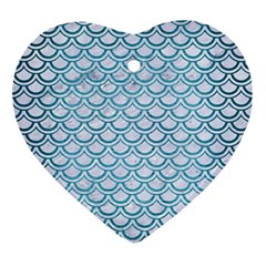 Scales2 White Marble & Teal Brushed Metal (r) Ornament (heart) by trendistuff