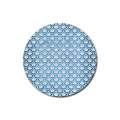 Scales2 White Marble & Teal Brushed Metal (r) Rubber Coaster (round)  by trendistuff