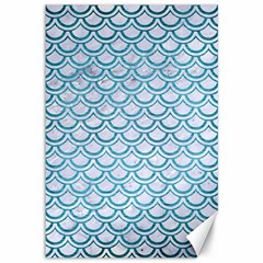 Scales2 White Marble & Teal Brushed Metal (r) Canvas 12  X 18   by trendistuff