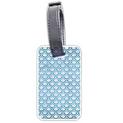 Scales2 White Marble & Teal Brushed Metal (r) Luggage Tags (one Side)  by trendistuff