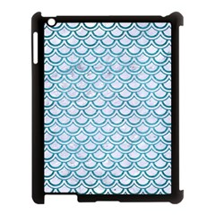 Scales2 White Marble & Teal Brushed Metal (r) Apple Ipad 3/4 Case (black) by trendistuff