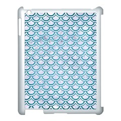 Scales2 White Marble & Teal Brushed Metal (r) Apple Ipad 3/4 Case (white) by trendistuff