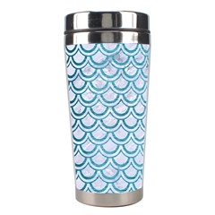 Scales2 White Marble & Teal Brushed Metal (r) Stainless Steel Travel Tumblers by trendistuff