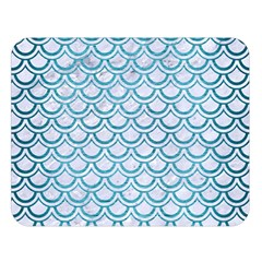 Scales2 White Marble & Teal Brushed Metal (r) Double Sided Flano Blanket (large)  by trendistuff