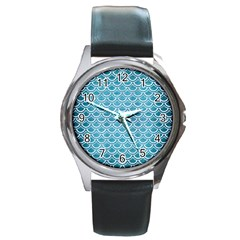 Scales2 White Marble & Teal Brushed Metal Round Metal Watch