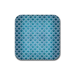Scales2 White Marble & Teal Brushed Metal Rubber Square Coaster (4 Pack)  by trendistuff