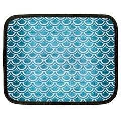 Scales2 White Marble & Teal Brushed Metal Netbook Case (large) by trendistuff