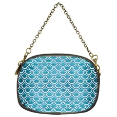 Scales2 White Marble & Teal Brushed Metal Chain Purses (one Side)  by trendistuff