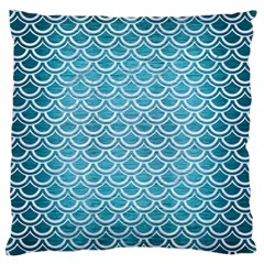 Scales2 White Marble & Teal Brushed Metal Large Flano Cushion Case (one Side) by trendistuff