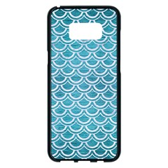 Scales2 White Marble & Teal Brushed Metal Samsung Galaxy S8 Plus Black Seamless Case by trendistuff
