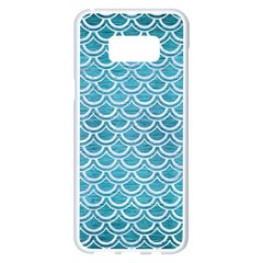 Scales2 White Marble & Teal Brushed Metal Samsung Galaxy S8 Plus White Seamless Case by trendistuff