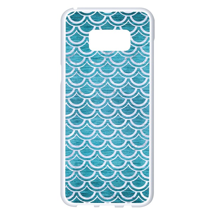 SCALES2 WHITE MARBLE & TEAL BRUSHED METAL Samsung Galaxy S8 Plus White Seamless Case