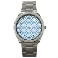 Scales1 White Marble & Teal Brushed Metal (r) Sport Metal Watch by trendistuff
